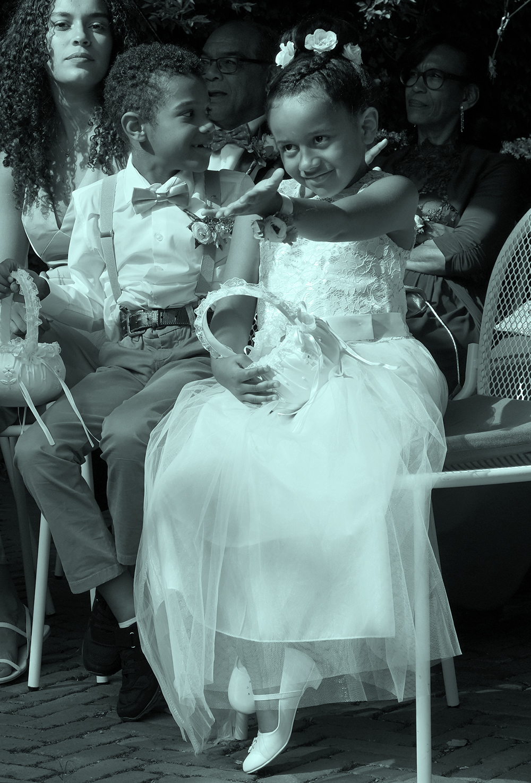 Bruidsmeisje bruidskinderen trouwen huwelijk